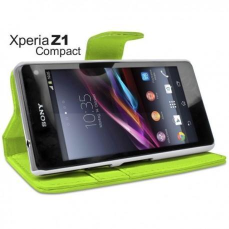 Torbica za Sony Xperia Z1 Compact Preklopna Zelena barva+Folija ekrana