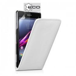 Torbica za Sony Xperia Z1 Compact Preklopna +Zaščitna folija ekrana Bela barva