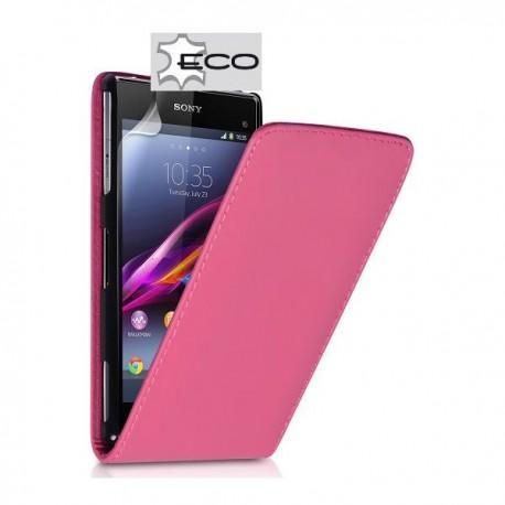 Torbica za Sony Xperia Z1 Compact Preklopna +Zaščitna folija ekrana Pink barva