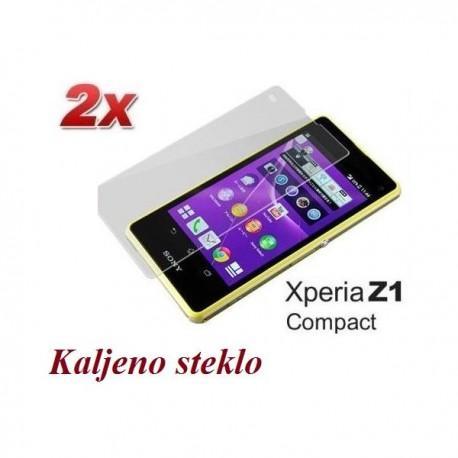 Zaščitno kaljeno steklo za Sony Xperia Z1 Compact Trdota 9H, 0,3 mm Duo Pack