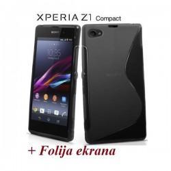 Silikon etui za Sony Xperia Z1 Compact +Folija ekrana Črna barva