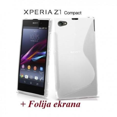 Silikon etui za Sony Xperia Z1 Compact +Folija ekrana Transparent barva