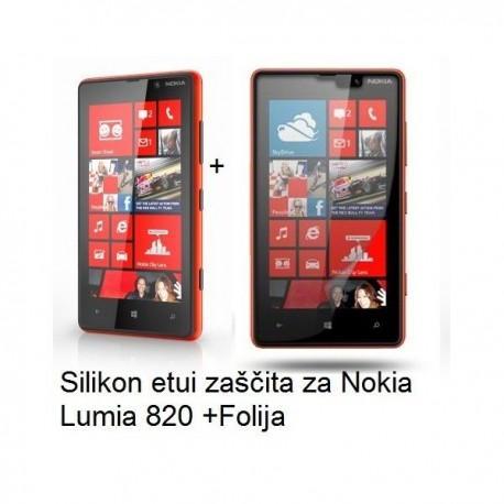Silikon etui za Nokia Lumia 820,mat prozorna siva barva+Zaščitna Folija ekrana