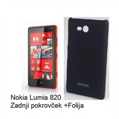 Etui za Nokia Lumia 820,Zadnji pokrovček,Črna barva+Zaščitna Folija ekrana