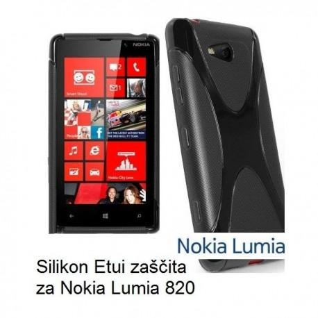 Silikon Etui za Nokia Lumia 820,črna barva,motiv X