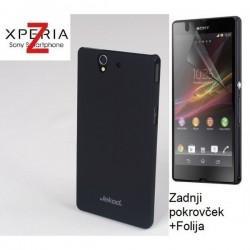 Etui za Sony Xperia Z Zadnji pokrovček +Folija, črna barva
