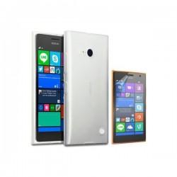 Silikon etui za Nokia Lumia 735,prozorna svetla barva+Folija ekrana