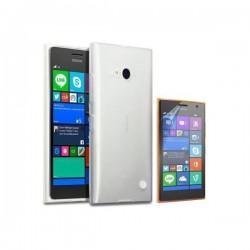 Silikon etui za Nokia Lumia 735,mat bela prozorna barva+Folija ekrana