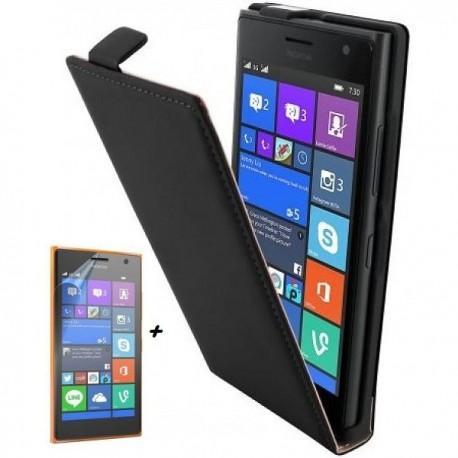 Torbica za Nokia Lumia 735,preklopna,črna barva+ Zaščitna folija ekrana