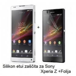 Silikon etui za Sony Xperia Z +Folija, transparentno svetla