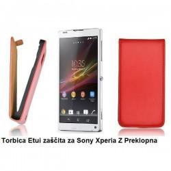 Torbica za Sony Xperia Z Preklopna ,Rdeča