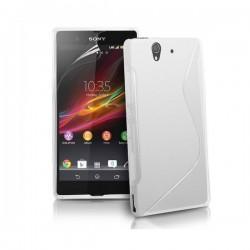 Silikon etui za Sony Xperia Z +Folija ,Bela barva