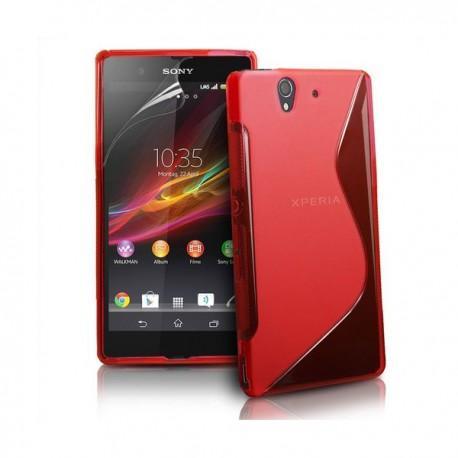 Silikon etui za Sony Xperia Z +Folija ,Rdeča barva