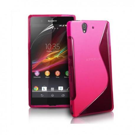 Silikon etui za Sony Xperia Z +Folija ,Pink barva