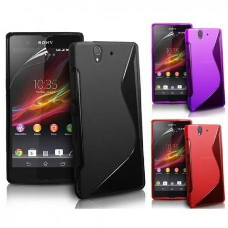 3x Silikon Etui za Sony Xperia Z Črna,Vijola,Rdeča barva+folija ekrana