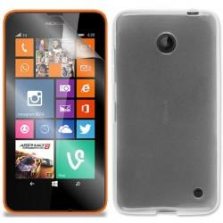 Silikon etui za Nokia Lumia 630/635,prozorno mat bela barva+folija ekrana