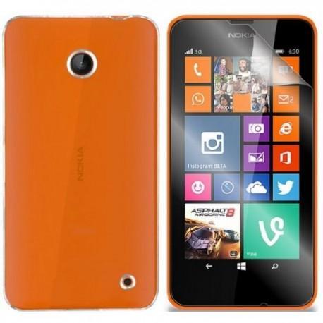 Silikon etui za Nokia Lumia 630/635,prozorna barva+folija ekrana