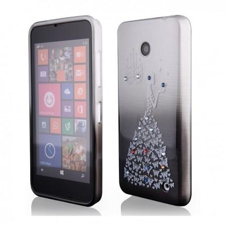 Silikon etui za Nokia Lumia 630/635,sivo črna barva,motiv Lady Butterfly+folija ekrana