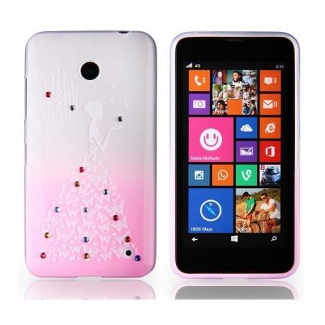 Silikon etui za Nokia Lumia 630/635,prozorna pink,motiv Lady Butterfly+folija ekrana