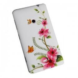 Silikon etui za Nokia Lumia 625,pink cvetovi z metulji+folija ekrana