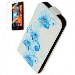 Torbica za Nokia Lumia 625,preklopna,modri cvetovi+folija ekrana