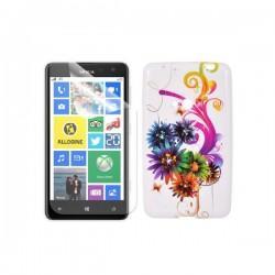Silikon etui za Nokia Lumia 625,motiv barvni cvetovi+folija ekrana