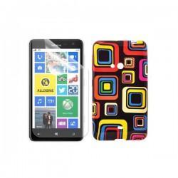 Silikon etui za Nokia Lumia 625,motiv barvni kvadratki+folija ekrana