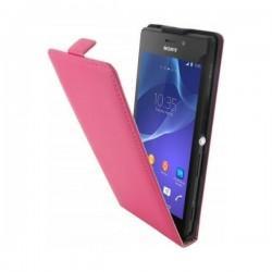 Preklopna Torbica za Sony Xperia M2 Aqua +Zaščitna folija ekrana,Pink barva