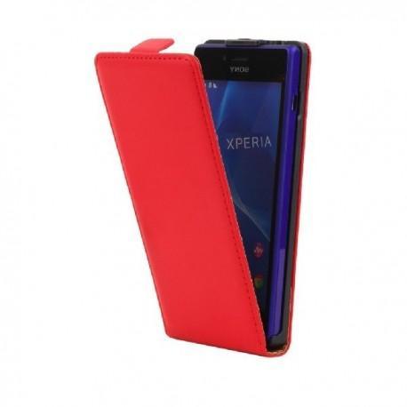Preklopna Torbica za Sony Xperia M2 Aqua +Zaščitna folija ekrana,Rdeča barva