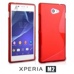 Silikon etui za Sony Xperia M2 +Folija ekrana, Rdeča barva