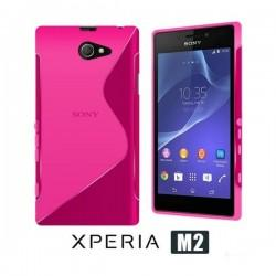 Silikon etui za Sony Xperia M2 +Folija ekrana, Pink barva