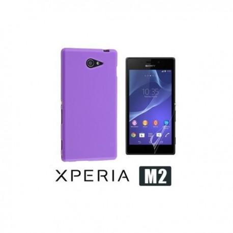 Etui za Sony Xperia M2 Zadnji pokrovček +Folija ekrana Vijola barva