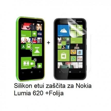 Silikon etui za Nokia Lumia 620,prozorna siva barva+folija ekrana