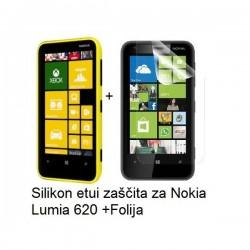 Silikon etui za Nokia Lumia 620,prozorna mat bela barva+folija ekrana