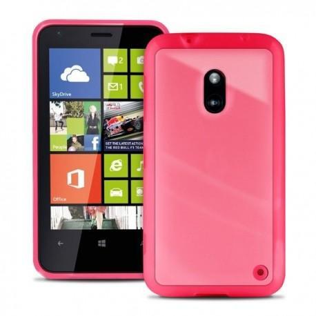 Etui za Nokia Lumia 620,prozoren s pink robovi