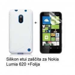 Silikon etui za Nokia Lumia 620,bela barva,motiv S+folija ekrana