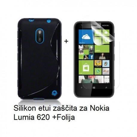 Silikon etui za Nokia Lumia 620,črna barva,motiv S+folija ekrana