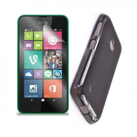 Silikon etui za Nokia Lumia 530/530 Dual Sim,prozorna siva barva+folija ekrana