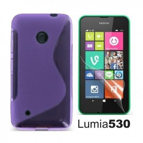 Silikon etui za Nokia Lumia 530,vijola barva,motiv S+folija ekrana