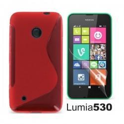 Silikon etui za Nokia Lumia 530,rdeča barva,motiv S+folija ekrana