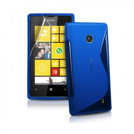 Silikon etui za Nokia Lumia 520,modra barva,motiv S+folija ekrana