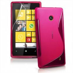 Silikon etui za Nokia Lumia 520,pink barva,motiv S+folija ekrana