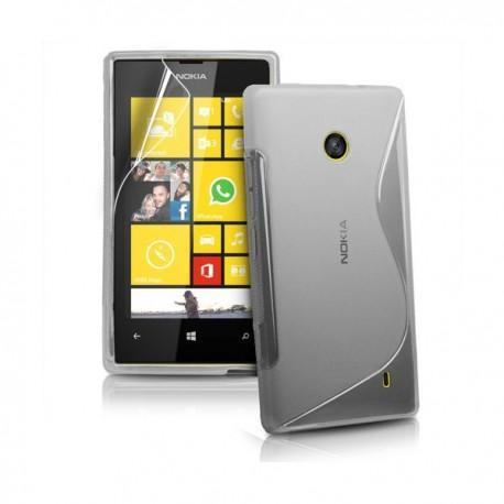 Silikon etui za Nokia Lumia 520,prozorna siva barva,motiv S+folija ekrana