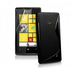 Silikon etui za Nokia Lumia 520,črna barva,motiv S+folija ekrana