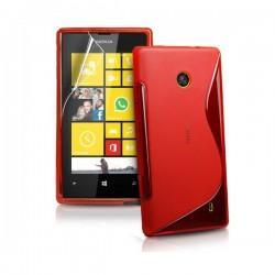 Silikon etui za Nokia Lumia 520,rdeča barva,motiv S+folija ekrana