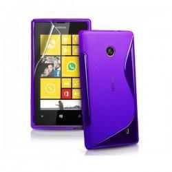 Silikon etui za Nokia Lumia 520,vijola barva,motiv S+folija ekrana