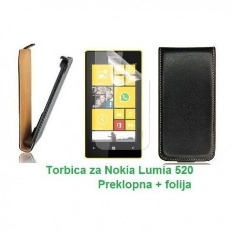 Torbica za Nokia Lumia 520,preklopna,črna barva+folija ekrana