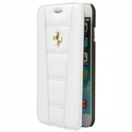 Preklopna Torbica za Apple iPhone 6 Ferrari Usnje Bela barva