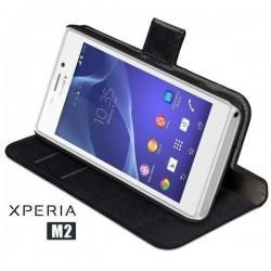 Torbica za Sony Xperia M2 Preklopna Črna barva+Folija ekrana