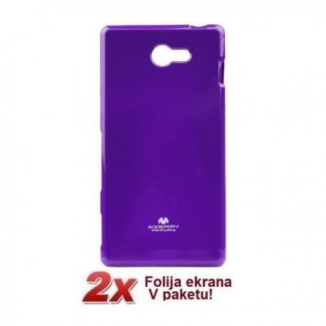 Silikon etui za Sony Xperia M2 + 2x Folija High-Quality ,Vijola barva